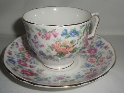 Crown Staffordshire England Springtime Bone China Cup and Saucer