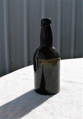 Pontil Black Glass Squat Liquior or Ale Bottle