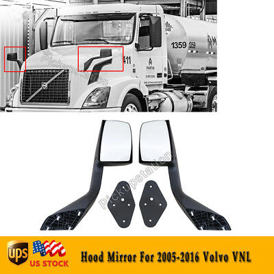 A Pair of Hood Mirrors Fit For 2005-2016 Volvo VNL With Mounting Plate LH+RH