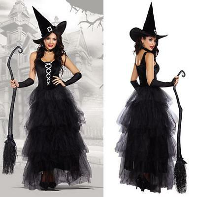 Halloween Ladies Black Witch Costume With Hat Women Witche Cosplay Dress AU 2018