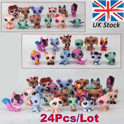 24Pcs/pack Littlest Pet Shop Lot Animals Hasbro LPS Figure Toy Dog Lion Cat Kids