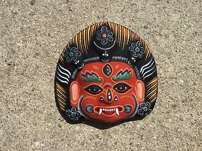 Small Paper / Clay Mache Mahakala Mask, Hand Craved, Nepal, PM-14, New !