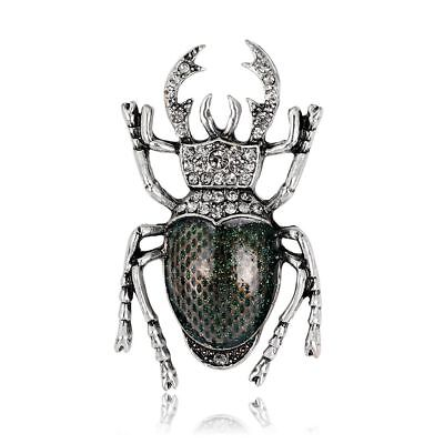 Vintage Enamel Crystal Insect Beetle Brooch Pin Badge Banquet Scarf Clip Jewelry
