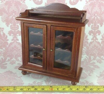 Dollhouse Miniature Home Bar Furniture Wood Mahogany Shelf Wine Cabinet 1:12