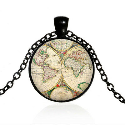 Vintage World map Globe Black Dome glass Photo Art Chain Pendant Necklace