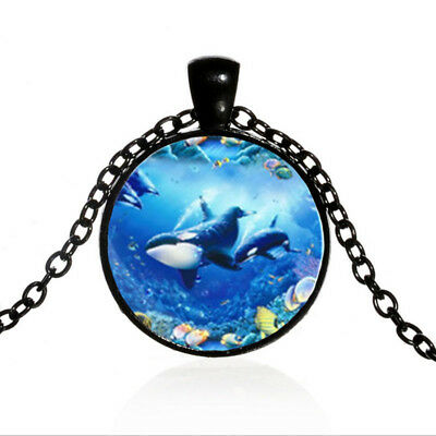 Vintage Whales Tropical Fishes Black Dome glass Photo Art Chain Pendant Necklace