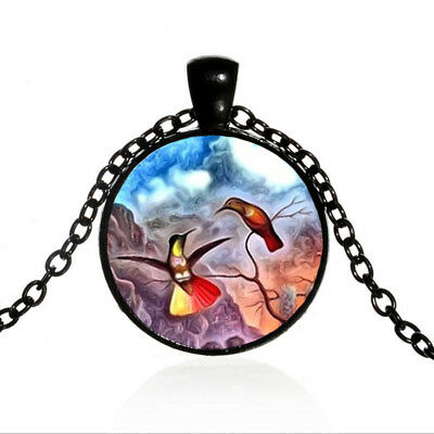 Two Hummingbirds on a Branch Black Dome glass Photo Art Chain Pendant Necklace