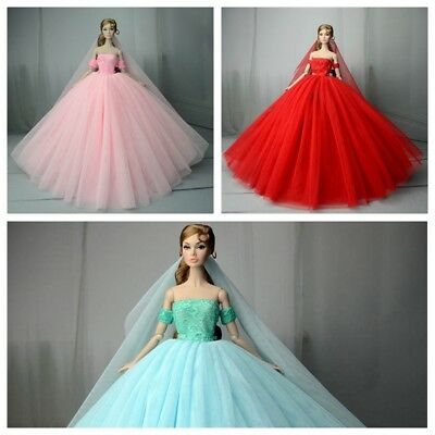3pcs/lot Wedding Dress for 11.5inch Doll Clothes 1:6 Princess Party Gown Outfits