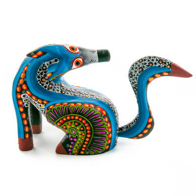TURNING COYOTE Oaxacan Alebrije Wood Carving Mexican Animal Sculpture Painting