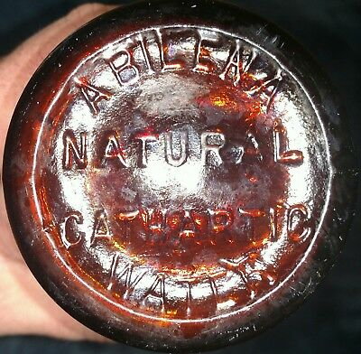 1890s ABILENA NATURAL CATHARTIC WATER BOTTLE - Apothecary Amber glass