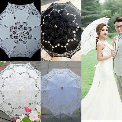 9 Colors Women Bridal Umbrella Cotton Lace Embroidery Wedding Party Sun Parasol