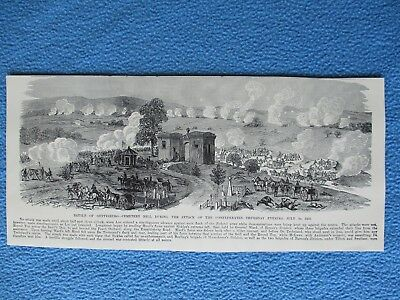 1884 Civil War Print - Battle of Gettysburg, Cemetery Hill, Confederates Attack