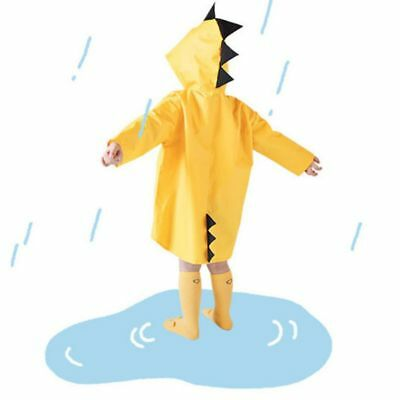 Kids Cute Dinosaur Raincoat Jacket Hoodie Cover Boys Girls Rain Weather Heroes