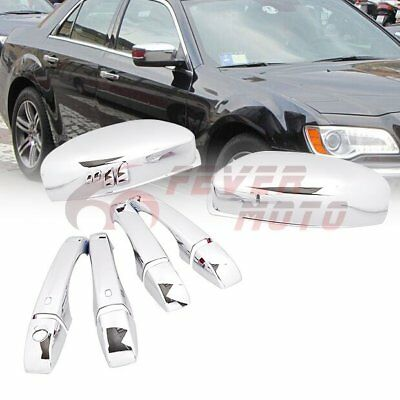 For 2011-2016 Chrysler 300 300C Car Chrome Side Door Handle+Half Mirror Cover FM