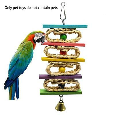 Parrot Pet Bird Chew Hanging Cage Wood Large Rope Cave Ladder Chewing Toys-UK