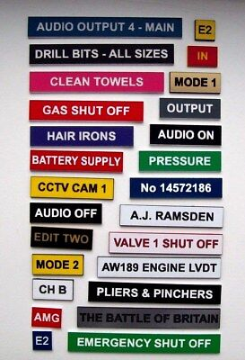 Bespoke Engraved Labels & Signs for workshop, car, boat, control panels etc