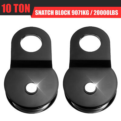 Heavy Duty Winch Snatch Block Pulley Off Road-Recovery 10 T (10 Ton) Tonne Black