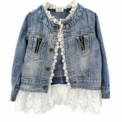 US Girls Kids Denim Jacket Ruffle Lace Jean Coat Top Clothing Outwear Clothes