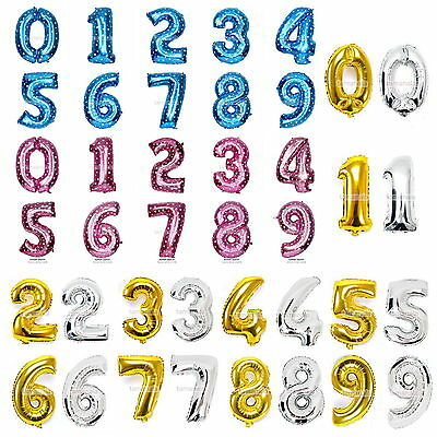 """Foil Balloon 16""""32""""40"""" Numbers Gold Silver Blue Pink 0-9 Birthday Party Wedding"""