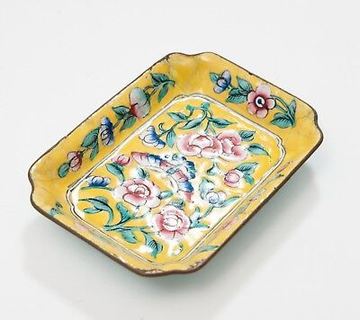 Antique Chinese Hand Painted Canton Enamel Yellow Ground over Copper Pin Dish
