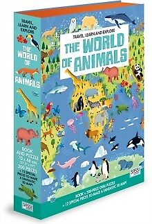 NEW World of Animals Travel, Learn & Explore: Book + 200 Piece Puzzle + 3D Map!