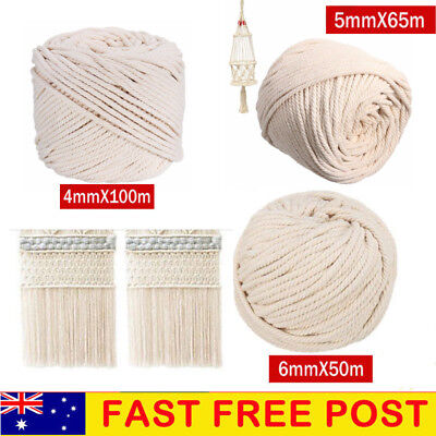 Macrame Rope Natural Beige Cotton Twisted Cord Artisan New Hand Craft  4/5/6mm