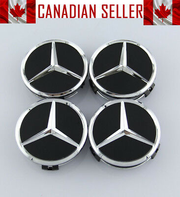 Set of 4 Mercedes Mat Black OEM Wheel Center Caps 75mm - FITS ALL MODELS