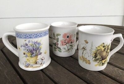 Lot Three 3 Marjolein Bastin Mugs Cups Natures Sketches Flowers Forest Animals