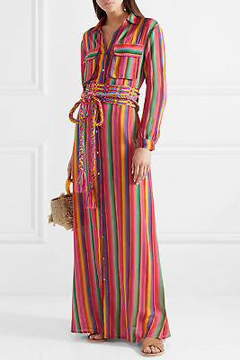 Women Long Sleeve Dress Button Colorful Striped Casual Maxi Dresses blouse