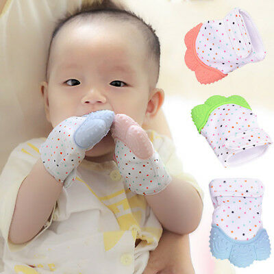 1x Baby Silicone Mitts Safe Teething Mitten Glove Candy Wrapper Cute Teether