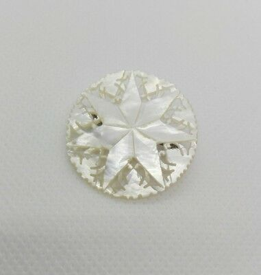 Vintage Mother of Pearl Star Brooch Pin Badge - Hand Carved
