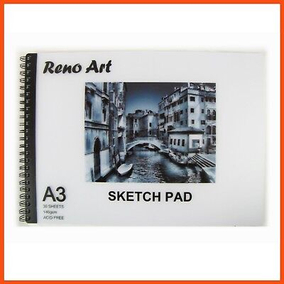10 x RENO ART ARTIST SKETCH PADS A3 140gsm 60pg Artist Drawing Paper Sketchbook