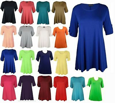 Women 3/4 Turnup Sleeve Button Top Ladies Flared Plus Size Party Wear Mini Dress