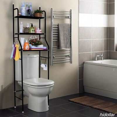 Over Toilet Bathroom Storage Rack Shelf Storage Unit 3Tier Bathroom Organizer Bk