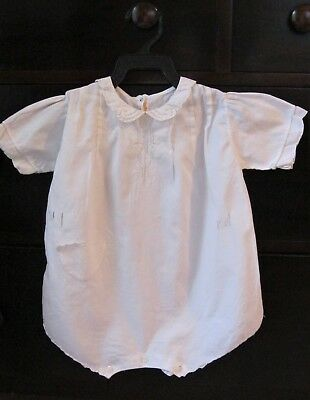 Vintage Baby Clothes One-Piece  White Embroidered Cotton - Handmade