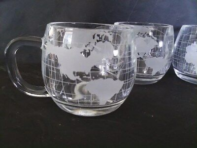 6 Vintage 1970's Nestle Nescafe Globe World Map Etched Glass Coffee Mugs Cups