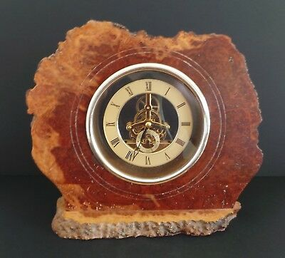 Burr Walnut Mantle Clock With Brass Dial And Battery Driven Visible Movement