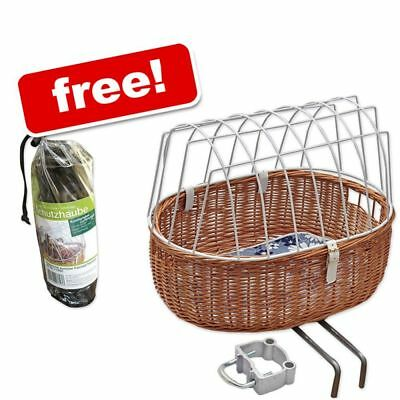 Aumuller Bike Cat Dog Basket Wicker Bicycle ProctectiveWire  FREE RAIN COVER