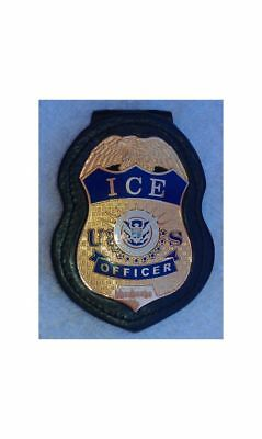 Badge Holder Police , I.C.E.. Deluxe  by Pando Leather  FREE SHIPPING!
