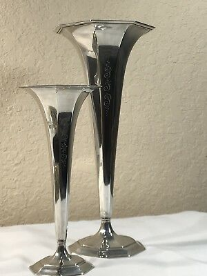 Pair of Antique TIFFANY & CO. Sterling Silver Trumpet Vases 925-1000 M (405 gr)