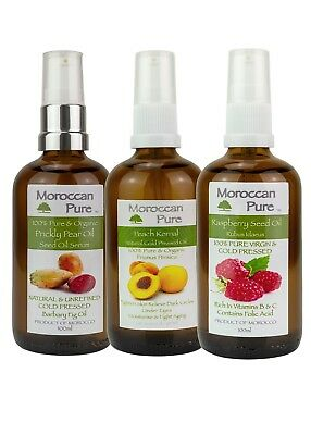 Moroccan Pure Face Oils Prickly Pear, Raspberry, Peach Seed Oil's Set100ml x 3