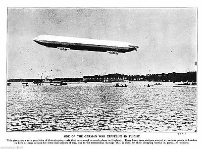 1915 World War 1 German war Zeppelin in flight bomber photo print