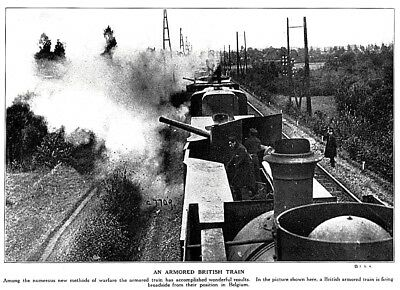 1915 World War I British Armored Train in Belgium soldiers Photo Print