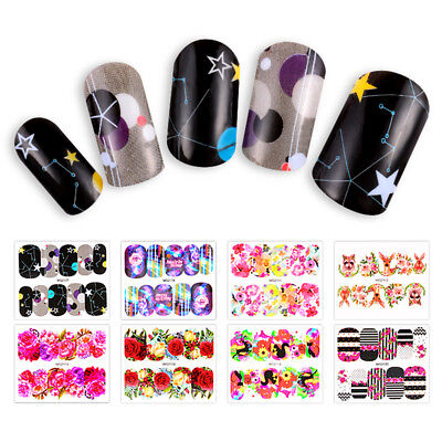 Mtssii 3 Sheets Water Transfer 3D Flower Manicure Nail Art Stickers Decals DIY