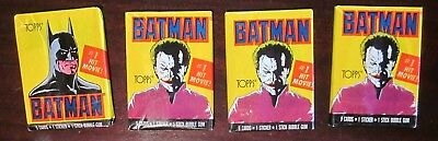 4 Wax Packs 1989 Topps Batman #1 Hit Movie Non Sport Cards Joker Sealed Cards