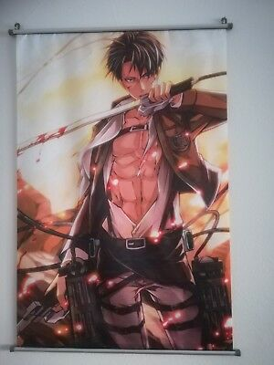 Levi attack on titan poster, stoff 60x90 anime rollposter