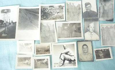 VTG Lot  WW2 Army Military Mini Photos soldiers, Camp, etc