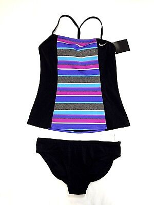 dc20e86d68 NWT Nike Women s Tankini Athletic Two-Piece Swimsuit Black Multi Colore Size  S