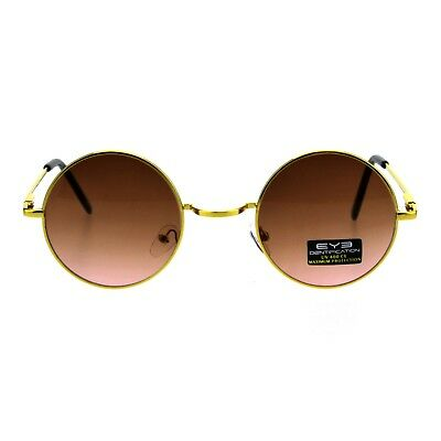 Gold Round Circle Frame Sunglasses Spring Hinge Ombre Color Lens UV 400