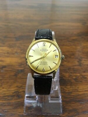 vintage swiss Emperor De Luxe watch, gold plated, gold tone face, new strap
